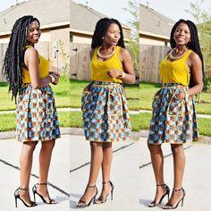 Ankara Skirt with Details waistband african print par Veroexshop