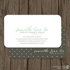 Polka Dots Business Card / Calling Card / Mommy Card - Set of 100 ©MalloryHopeDesign, $48.00