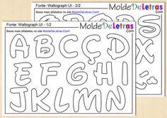 Baixe 2 tamanhos de molde de letras e números estilo Walt Disney para artesanato com patch aplique, EVA ou feltro. Nossos moldes estão em tamanho natural