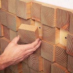 *** wood wall fire place back splash OR vision board *** DIY Natural Wood Block Wall Treatments Decor Inspiration Ideas - Artistic Wall Treatment Decor Ideas Wood Wall Design, Wooden Wall Art, Wooden Walls, Wall Wood, 3d Wall, Block Wall, Diy Holz, Wall Treatments, Natural Treatments