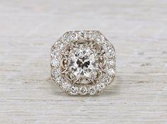 Black Diamond center stone   1.53 Carat Edwardian Tiffany & Co. Ring