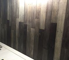 Stained with dark walnut stain, grey & white washed Wood Plank Ceiling, Pallet Ceiling, Timber Ceiling, Wood Ceilings, Wood Planks, Painted Ceilings, White Ceiling, Grey Stain, Dark Walnut Stain