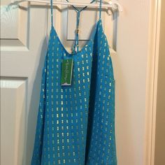Lily Pulitzer top Beautiful blue with gold squares. Lilly Pulitzer Tops Blouses