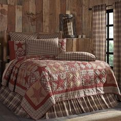 Khaki Tan Rustic & Lodge Bedding Brickston Cotton Pre-Washed Star Twin Quilt, Beige