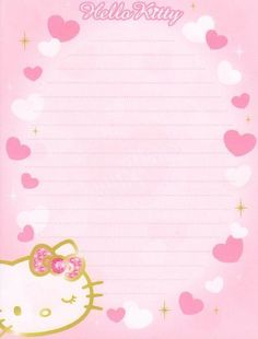 Free Printable Stationery, Printable Scrapbook Paper, Cute Stationery, Stationary, Hello Kitty My Melody, Sanrio Hello Kitty, Hello Kitty Invitation Card, Hello Kitty Themes, Planners