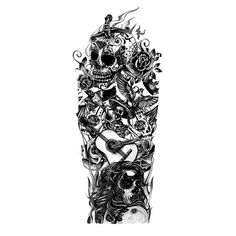 Day of the Dead Inspired Tattoo Full Sleeve Design