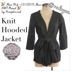 """Host Pick   NEW! Xtaren Knit Hooded Jacket  Host Pick - 12/20/15 Best in NWT Retail by @stephxred  This thicker knit hooded jacket by Xtaren is both flattering and comfortable...wrap style with wider 3/4 length sleeves and wide tie at the waist...accentuates your curves in all the right places! Has a wonderful structured stretch to it Size M Length (from shoulder to hem): 25"""" ‼️FINAL PRICE UNLESS BUNDLED‼️ ❌PLS DON'T BUY THIS POST - TAG ME & I WILL CREATE ONE FOR YOU❌ Xtaren Jackets & Coats"""