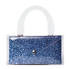 Luise Diamond n.1 Clutch Bag, Fall Winter 2015-16 Collection, blue sequin print http://www.bi-bag.it/en/luise/517-women-bags-transparent-pvc-clutch-bags-with-plexiglass-handles.html