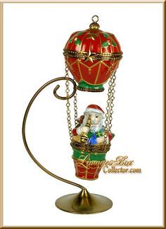 Santa Claus in Hot Air Balloon Limoges Box by Beauchamp www.LimogesBoxCollector.com