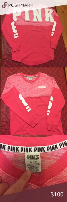 Cute long sleeve vs pink shirt Looking to trade this for small vs items! Size xs will fit a small PINK Victoria's Secret Tops