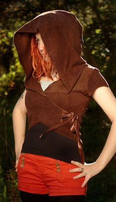 Alternative Clothing - Short Sleeved Plain Fleece 'Carache' Top TPF Faerie Wear - Alienskin Clothing: Hand made