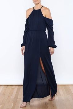 Nacymaxi dress with long sleeves, cold shoulders, elastic waist, racer back and tie back strings.   Navy Girl Maxi by Everly. Clothing - Dresses - Maxi Clothing - Dresses - Long Sleeve Michigan