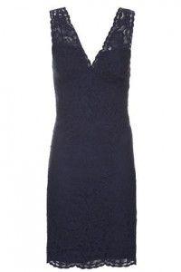 TALL Lace Bodycon V-Neck Dress - Navy Blue