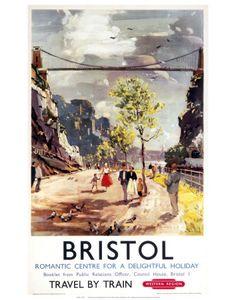 Vintage Bristol Travel by Train Poster British Railways, 1950 Posters Uk, Train Posters, Railway Posters, Poster Ads, British Railways, British Travel, National Railway Museum, Tourism Poster, Travel Tourism