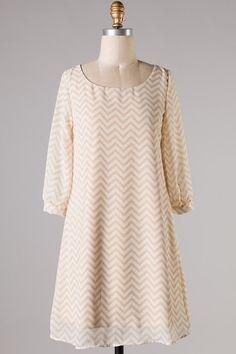 Cambria Chevron Dress Ivory - Kelly Brett Boutique