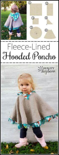 fleece-lined hooded poncho