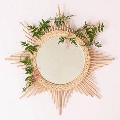 Miroir soleil en rotin esprit vintage - Etoile
