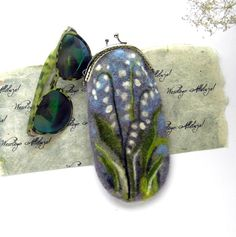Wet Felted Flower Lilies of the valley Eyeglasses Case with bag frame metal closure gift for her