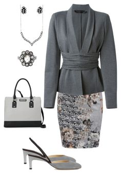 """Cool Grey"" by dolenka ❤ liked on Polyvore featuring WithChic, Donna Karan, Paul Andrew, Cathy Waterman and Nine West"