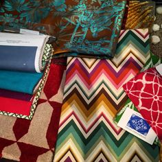 Colourful Summer inspiration - Missoni fabrics - Jim Thompson silks - Le Manach rugs - batic textiles from Bali