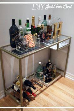 69 Ideas home diy ikea bar carts Ikea Bar Cart, Diy Bar Cart, Gold Bar Cart, Bar Cart Decor, Bar Carts, Ikea Hacks, Hacks Diy, Pub Set, Gold Diy