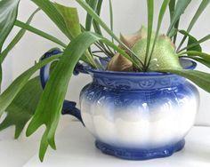 Vintage Blue and White Ceramic Planter • Handled Chamber Pot Design • Heavy Embossed Glazed Reproduction • Victorian Edwardian Shabby Style by KatesAtticBargains on Etsy