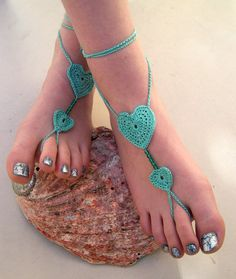 Mint Barefoot Sandals, barefoot sandles, Crocheted Heart Anklet, Beaded Foot Jewelry, Beach Wedding, Soleless, Bridesmaid accessory via Etsy