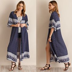 """Enchant"" Printed Kimono Duster Cardigan Printed kimono maxi duster cardigan. Available in navy and ivory. This listing is for the NAVY. Brand new. True to size but a loose fit. NO TRADES DON'T ASK. Bare Anthology Jackets & Coats Trench Coats"