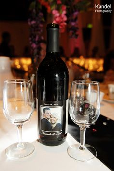 great way to use your engagement photos... wine labels at your reception!