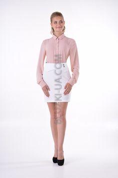 b3f237e6e5f Шифоновая блуза свободного кроя с длинным рукавом пепельно-розового цвета  SUZY SHIER