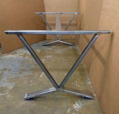 V-Shaped Dining Table Base Industrial Base by MetalAndWoodDesign