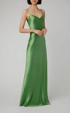 Satin Maxi Dress by Galvan Grad Dresses, Satin Dresses, Strapless Dress Formal, Stunning Dresses, Pretty Dresses, Fancy Gowns, Galvan, Green Satin, Women's Fashion Dresses