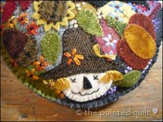 wool crazy quilt pincushion from The Painted Quilt website