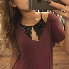 Just RestockedLace Halter Bralette Available in black and burgundy. These will sell fast si grab them while you can. There is some support. Not as much as a sports bra but good for a Bralette. The front has a fabric lining. No pads. Stretchy material. Sizing is S M L XL in both colors. Hapa Clothing Intimates & Sleepwear Bras