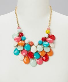 Take a look at this Blue Rainbow Teardrop Bib Necklace on zulily today!