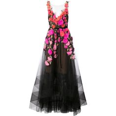 Marchesa Notte floral applique tulle gown ($2,460) ❤ liked on Polyvore featuring dresses, gowns, black, floral gown, floral ball gown, floral evening dresses, sleeveless dress and floral applique dresses