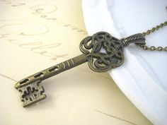 Large Vintage Style Key Necklace  Key Charm Necklace by ShadedRose