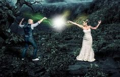 Carolina and Nate wanted a touch of wizardy in their wedding photos so I made this composite for them!   Check out the blog at www.photosbychrismartin.com/dinodigsLighting:AB1600 through Med octa camera right triggered by radio poppers