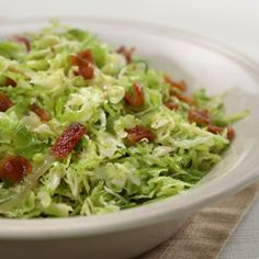 Shredded Brussels Sprouts with Bacon & Onions Recipe - http://recipes.millionhearts.hhs.gov/recipes/shredded-brussels-sprouts-bacon-onions