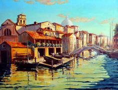 """Oil on canvas """"Boats"""""""