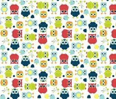Owls Rainbow http://www.spoonflower.com/fabric/647775