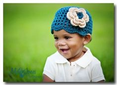 Dark Teal Beanie with Flower fits 6  12 mos by cjboutiques on Etsy, $12.00