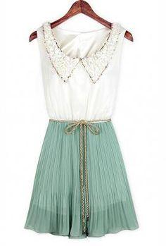 Imperial Soirée Vintage Collar Accordion Dress in Mint Tea   Sincerely Sweet Boutique