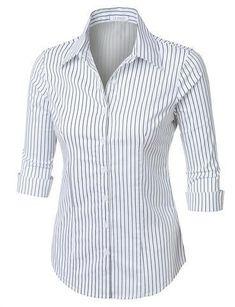 Women's Work shirts Womens Lightweight Cotton Striped Button Down Shirt Womens Fashion For Work, Women's Summer Fashion, Formal Shirts, Casual Shirts, Tailored Shirts, Work Shirts, Long Blouse, Work Attire, Shirt Sleeves