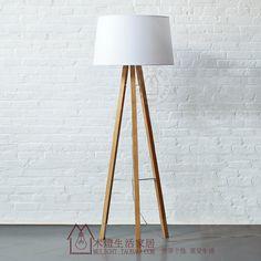 Log wood floor lamp wooden stand living room lights brief fabric floor lamp 8300(China (Mainland))