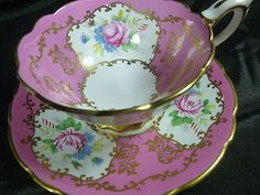 ROYAL STAFFORD TEA CUP AND SAUCER PINK H.P PINK ROSES & FLORAL
