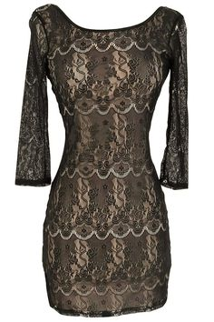 form fitting black lace dress