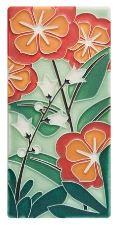 Red and White Roses Decorative Ceramic Wall Art Tile 6x6