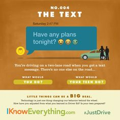 Does your teen really know how dangerous it is to text and driver? Take National Teen Driver Safety Week as an opportunity to talk with them about being smart behind the wheel!