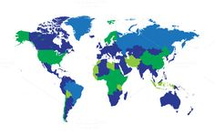World map borders blue and green by TeaGraphicDesign on @creativemarket